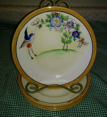 5 Vtg Japan Art Deco Luster Salad Plates HP Landing Bird Pink Blue Flowers EXC