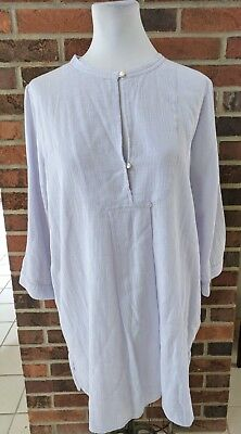 New J. Crew Light Purple Lilac Lavender Linen Feel Tunic Blouse Cover Up Medium