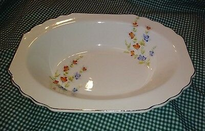 """WS George GEO437 Lido Canarytone 9"""" Oval Bowl Red Blue Yellow Flowers Platinum"""