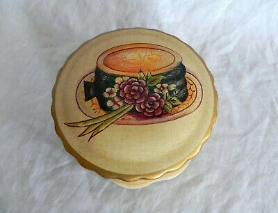 Raymond Waites Studio TRINKET VANITY BOX HAND PAINTED Hat & Flowers