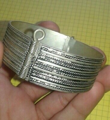 ANCIENT VIKING ENGRAVED silver SILVER CUFF BRACELET artifact very Stunning