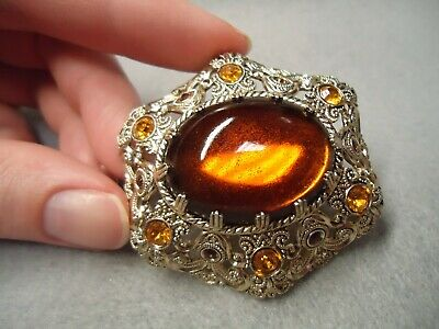 Vintage Germany Filigree Lace Amber Brown Golden Yellow Rhinestone Brooch Pin