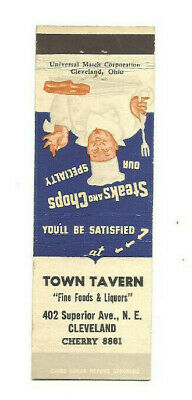 1930s 1940s Town Tavern Beer Bar Cleveland Oh Ohio Matchbook Cover Matchcover