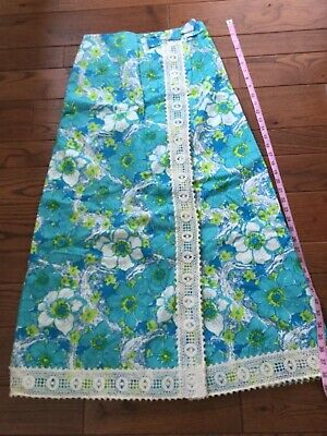 "1337c1091 Vintage 60s 70s ""The Lilly"" Pulitzer Maxi Skirt Turquoise Sz. 10 Eyelet  Excellen"