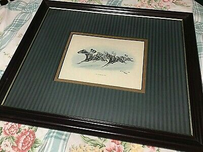 Vntg Framed Matted Sign Grafiche Tasgotti Italy #61121 Horse Racing Print 17x20""