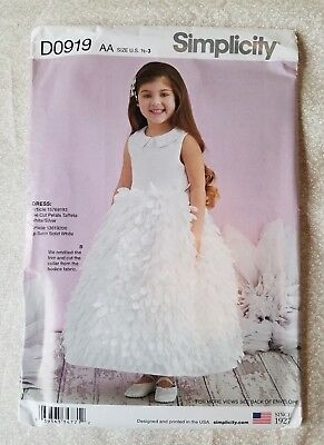 a3ecb3925a3 SIMPLICITY D0919 SEWING PATTERN Toddler Dress Flower Girl Special ...