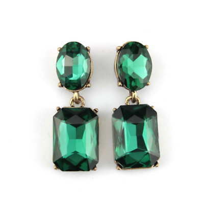Vintage Inspired Luxury Emerald Green Crystal Stud Fashion Statement Earrings