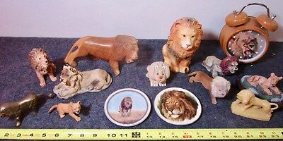 mixed lot of 14 vintage lion lions safari wildlife collectibles figurines clock