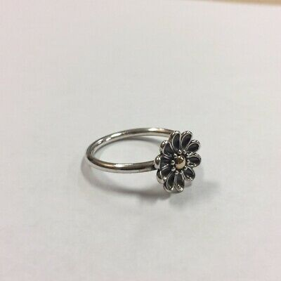 ceef34907 NEW W/BOX PANDORA Oopsie Daisy Silver & 14 KT Gold Flower Ring ...
