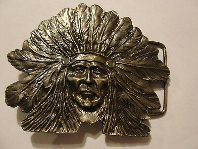 Vintage Native American, Indian Chief Belt Buckle by Wyoming Studio Art Works