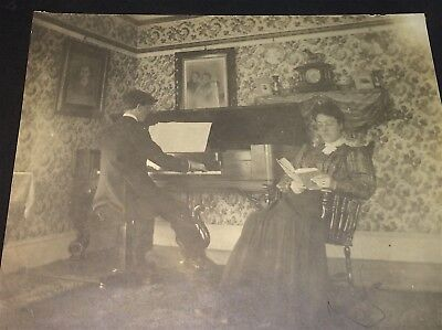 Antique American Piano Music Playing Gent, Woman Reading Book Cabinet Photo! US!