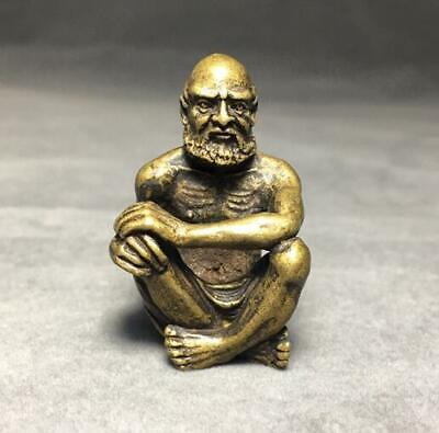 China Retro bronze Collection statue amulet  Bodhidharma Small Ornament