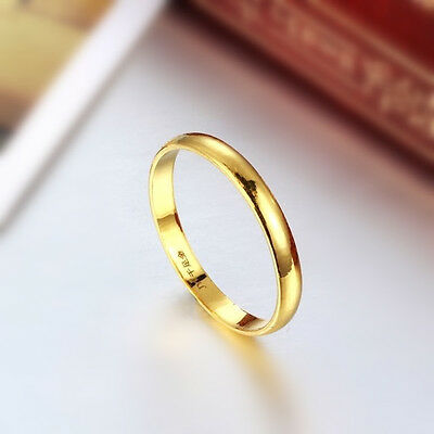 Hot New Arrival Pure 999 24K Yellow Gold Band Women/'s 0.7mm Smooth Ring US 4-9