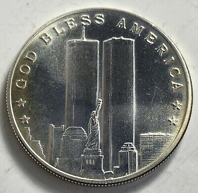 September 11 2001 God Bless America Land Of The Free 1 Oz .999 Fine Silver Round