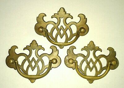 3 small matching Gothic Arts n Crafts furniture BRASS Drawer Pulls antique FREE