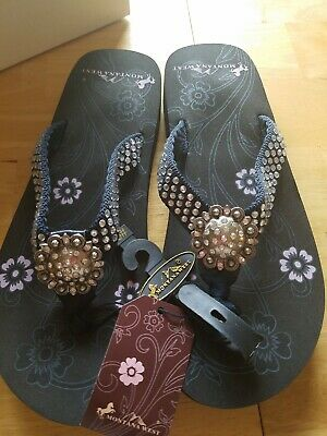 72eb0ee92 Montana West Women Flip Flops Shiny Bling Sandals Crystals Floral Concho  Black 9