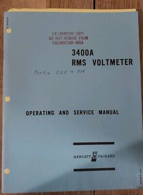 Hewlett Packard HP 3400A RMS Voltmeter Operating and Servicing Manual