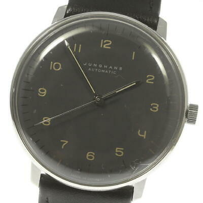 JUNGHANS Max Bill 27.3401 Gray Dial Leather Belt Automatic Men's Watch_473977