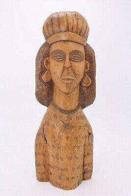 Primitive Hand Carved Wood Figure Head Bust Ethnic Tribal Folk Art Vtg Antique