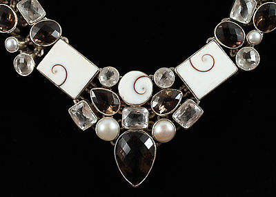 NEW Fabulous Sterling Silver shiva shell, smoky topaz and quartz Necklace