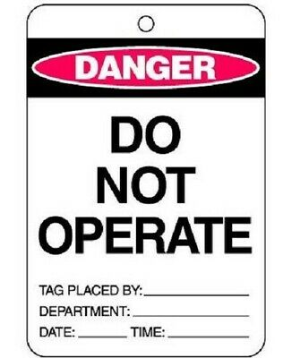 Brady 'DO NOT OPERATE' LOCKOUT TAG 150x100mm Polypropylene, Yellow/Black