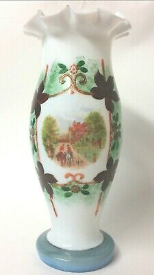 Antique Victorian Tall Hand Painted White Ruffled Glass Vase c.1890 - 1910