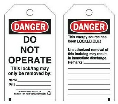 Brady 'DO NOT OPERATE' LOCKOUT TAG 145x75mm With Stripes, Black/White/Red