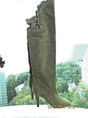 2912e69ec16 auth CHLOE grey suede leather Over Knee Boots EU38 1 2 B US 8 New