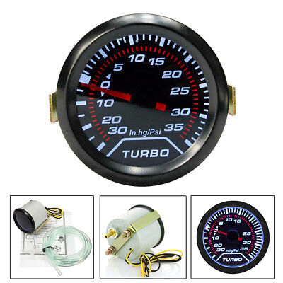 Universal 52mm Bar Blue Led Car Auto Turbo Boost  Pressure Gauge Smoked Dial Psi