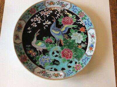 Large 12inch  NIPON peacock plate platter hand painted enameled Japanese signed