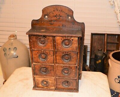 Seasoned Stenciled Antique 8 Drawer Oak Kitchen Wall Spice Cabinet Rack Country