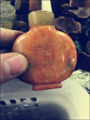 Collection Top-grade chinese old Xiu Jade stone snuff bottle exquisite statue