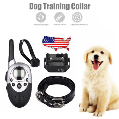 Pet Dog Training Collar 1000 Yard Rechargeable Electric Remote 100LV E-Shock MY