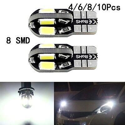 T10 501 W5w 8 Smd Led Xenon Hid White Car Side Light Bulbs Error Free Canbus 12v