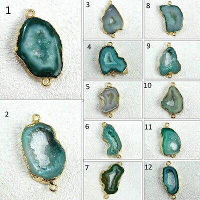 Royal Natural Window Green Geode Druzy 24k Gold Plated Connector Making Jewelry