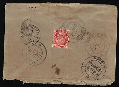 Mauritius 1915 cover to Bombay nice back stamps inc. MADRAS SURAT etc