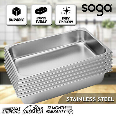 SOGA 6 x Full Size 1/1 GN Pan 100MM Deep Stainless Steel Gastronorm GN Pan Tray