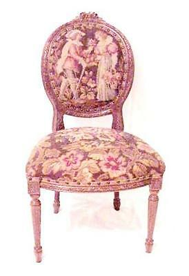 Exceptional LOUIS XVI FRENCH LOVERS Allegorical NEEDLEPOINT Parlor Chair