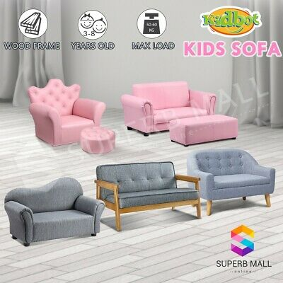 Kids Toddler Sofa Couch Lounge Armchair Single Double Pink/Black/Grey/Dark Brown