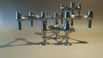 5 Vintage Modular Nagel Candle Holders and 3 small feet Modernist West Germany.