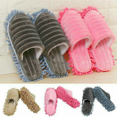 A pair Mop Slippers Lazy Quick Polishing Cleaning Floor Foot Socks Shoes Dust UK