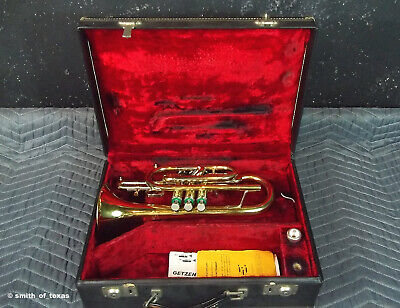 Getzen Capri Shepherd's Crook Cornet w/Case  & Bach 7B Professionally Cleaned