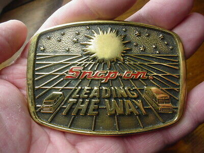 Vintage 1988   Snap-On Tools   Leading The Way Solid Brass Belt Buckle