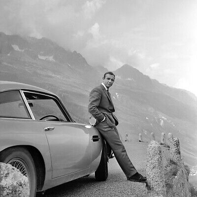 Sean Connery James Bond 007, with Aston Martin from the film Goldfinger.