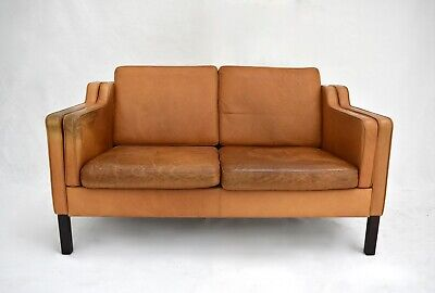 Vintage Danish Stouby Tan Brown Leather 2 Seater Sofa Midcentury 1960s