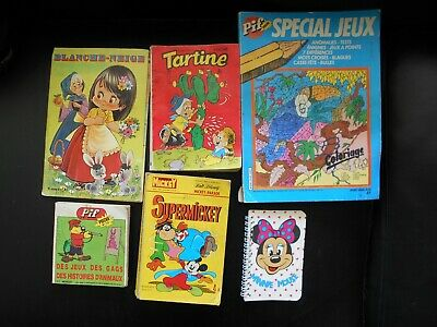 Lot 6 Pif Mickey, Minnie,Tartine, Blanche Neige