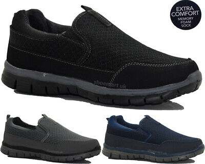 Mens Get Fit Slip On Memory Foam Summer Walking Gym Fitness Trainers Shoes Sizes