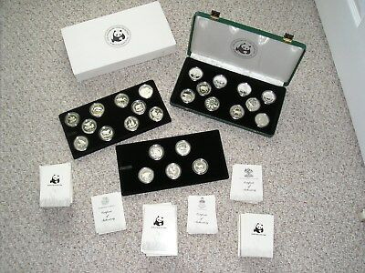 Complete Set 1986 - 1988 Silver World Wildlife Fund Silver Proof Coins 25 Pieces
