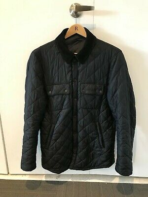 Barbour Men's Akenside Quilted Jacket, Navy Blue, Medium, Preowned