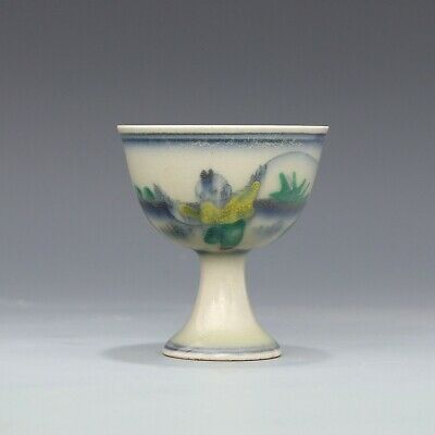 Chinese old Porcelain Ming chenghua mark blue white doucai painting Children cup